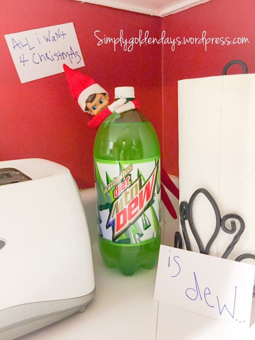 Elf on the Shelf Ideas - All I want 4 Christmas....is Dew... Song lyrics