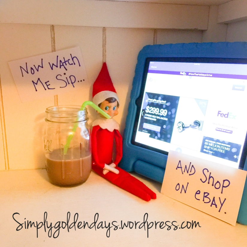 Elf on the Shelf Ideas - Now watch me sip...and shop on ebay.