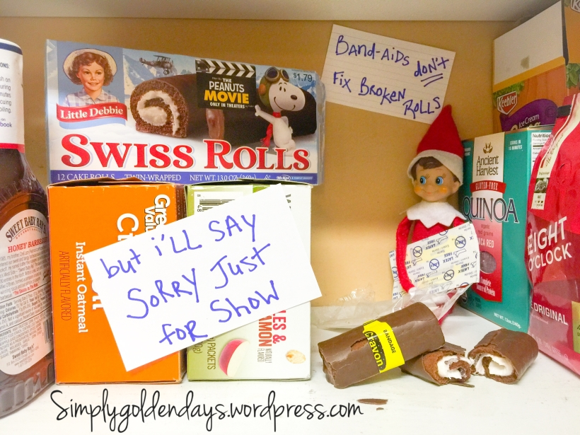 Elf on the Shelf Ideas - Band-aids don't fix broken rolls...but I'll say sorry just for show. Song lyrics