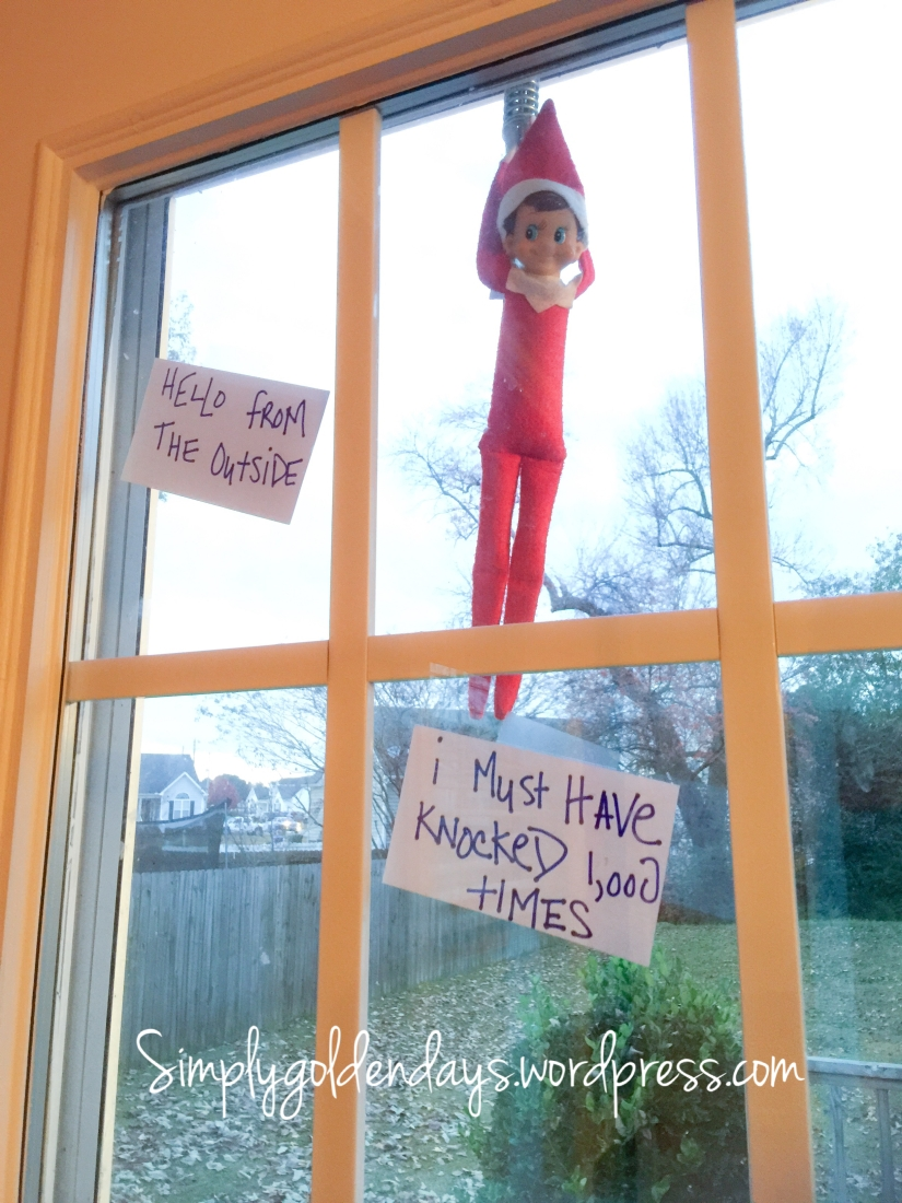 Elf on the Shelf Ideas - Hello from the outside...I must have knocked 1,000 times. Song lyrics